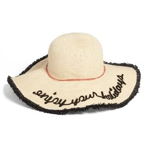 SOLE SOCIETY  Embroidered Straw Sun Hat wi…